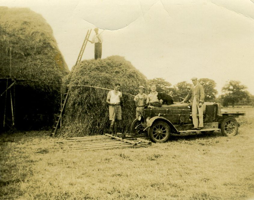 harvest c1939 with car rake ed wilson left